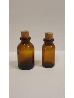 Buteliukas, gintaro spalvos stiklo (su kamšteliu)