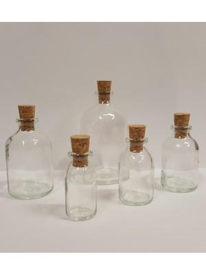 Buteliukas, skaidraus soda-lime stiklo (su kamšteliu)