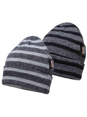 Dryžuota megzta kepurė su Insulatex pamušalu PORTWEST B024