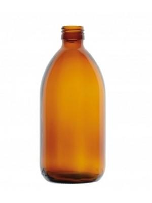 Gintaro spalvos stiklo butelis