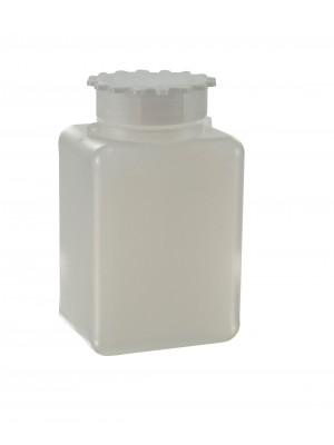Butelis plačiu kakleliu, stačiakampio formos, graduotas, HDPE