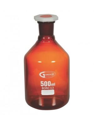 Reagentų butelis, su šlifu, gintaro spalvos stiklo