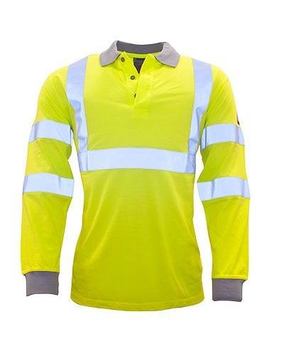 Ugniai atsparūs, antistatiniai Gero matomumo Polo marškinėliai ilgomis rankovėmis PORTWEST FR77